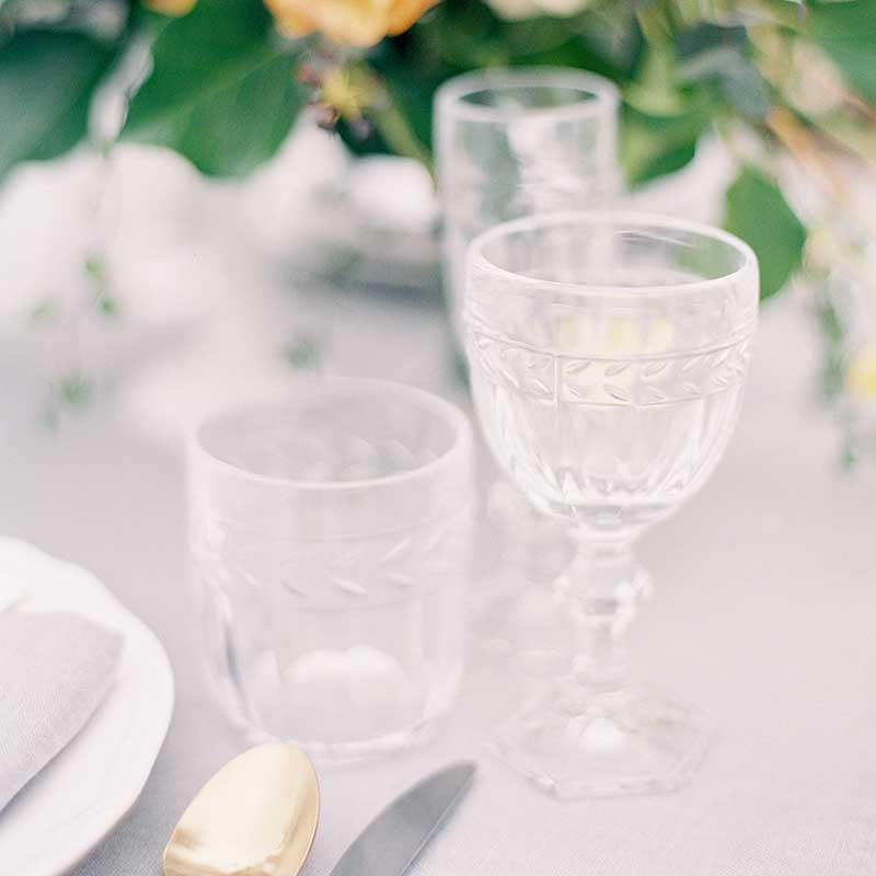 wine glass wedding hire