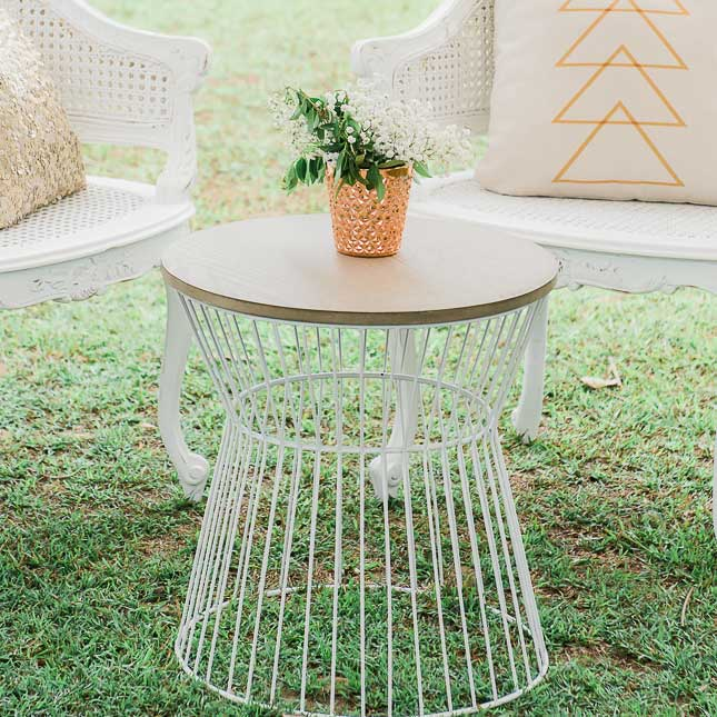 stirling side table wedding hire