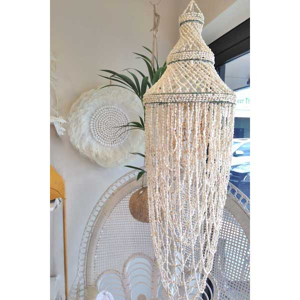 shell chandelier boho wedding hire
