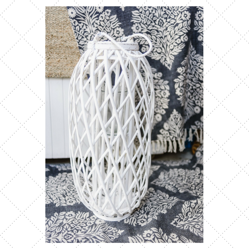 White Wicker Lantern