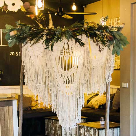 macrame hanging wedding hire