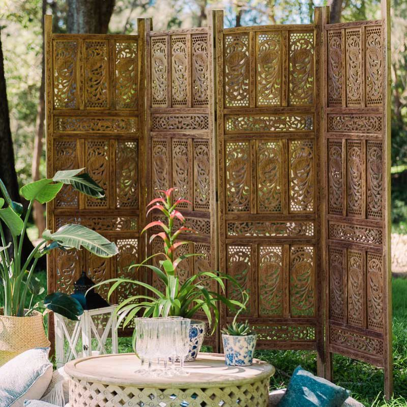 Carved Timber Folding Screen